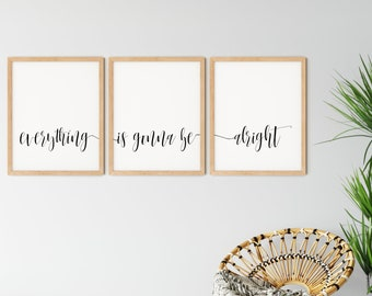 Everything Is Gonna Be Alright Print, Boho Home Decor, Inspirational Poster, Mindfulness Gift For Her, Printable Wall Art, DIGITAL DOWNLOAD