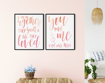 Family Printable Wall Art Sign, and so together they built a life they loved + you and me and our three hearts, red orange, DIGITAL DOWNLOAD