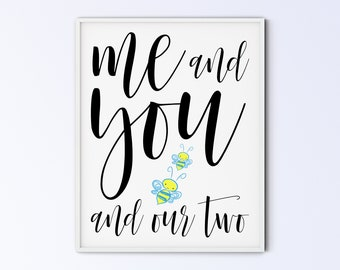 First Time Father's Day Gift, New Dad Sign, Boy Twins Bee Poster, Nursery Decor, Family Printable Wall Art, me and you and our two bees BB