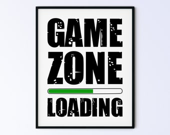 Funny Father's Day Gift Idea, Game Poster, Printable Wall Art Gamer's Print, Gaming Sign For Son, game zone loading green smooth DIGITAL ART