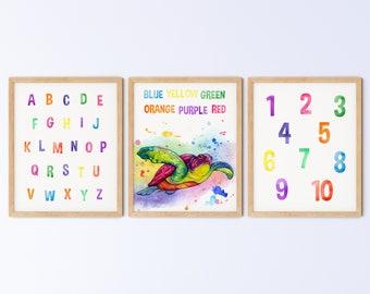 Kids Printable Playroom Wall Art, Animal Nursery Print, Rainbow Watercolour Turtle Colours Alphabet Numbers Set, DIGITAL DOWNLOAD