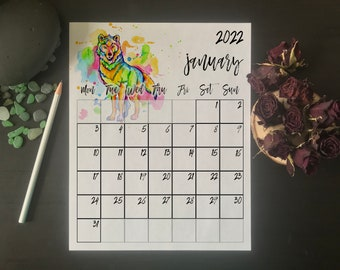 Wolf monthly wall calendar 2022 Mon - Sun, Printable Rainbow Watercolour Animal, Includes Extra Page for January 2023, DIGITAL DOWNLOAD