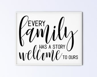 Family Art Printable Wall Art Sign - every family has a story welcome to ours - script capitals - DIGITAL DOWNLOAD