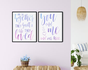 Family Printable Wall Art Sign, so together they built a life they loved, you and me & our three hearts, pink purple blue, DIGITAL DOWNLOAD