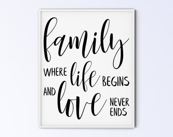 Family Art Printable Wall Art Sign - family where life begins and love never ends - script rustic - DIGITAL DOWNLOAD