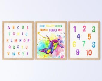 Kids Printable Playroom Wall Art, Animal Nursery Print, Rainbow Watercolour Orca Colours Alphabet Numbers Set, DIGITAL DOWNLOAD