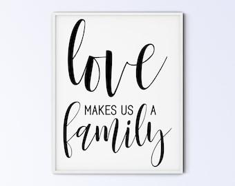 Family Art Printable Wall Art Sign - love makes us a family - script capitals - DIGITAL DOWNLOAD