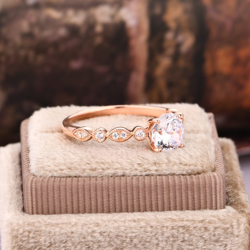 Round Cut 6.5mm Moissanite Ring Rose Gold Plated Silver  Engagement Ring Vintage Ring Half Eternity Ring Dainty Moissanite Bridal Ring