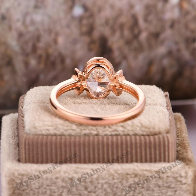 Oval Cut 6x8mm Moissanite Ring Vintage Engagement Ring 14k Rose Gold Wedding Ring Antique Bridal Ring Anniversary Ring GiftWedding Ring