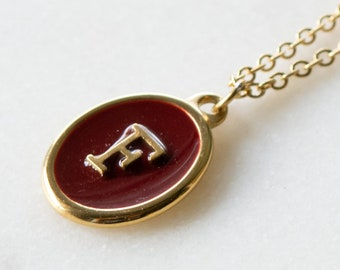 Necklace For Girlfriend or Wife Lovers Necklace anniversary necklace for her 18ct Gold Disc Initial Necklace Personalised With Red Enamel