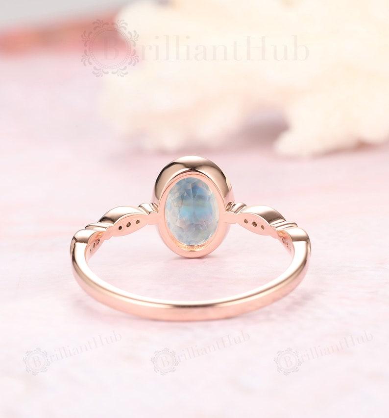 Gift For Women Vintage Oval Natural Blue Moonstone Engagement Ring Bezel Set Moonstone Bridal Ring Promise Ring Art Deco WEdding Ring