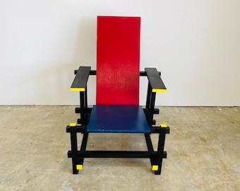 Vintage Gerrit Rietveld Red Blue De Stijl Wood Chair MCM Postmodern Bauhaus