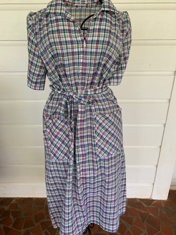 Vintage 80's Plaid Dress with Matching Belt and wi