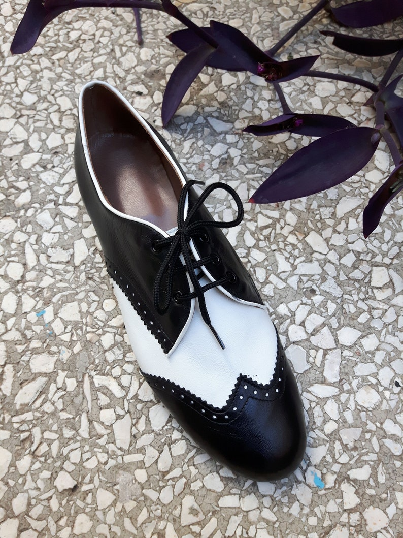 1940s Teenage Fashion: Girls Classic leather shoesSwing leather shoesHot-sale women shoesHandmade black and white shoesLeather oxford ties shoes $136.54 AT vintagedancer.com