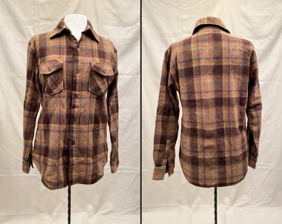 Vintage 70s Wool Button Up Shirt Jacket   Kmart  