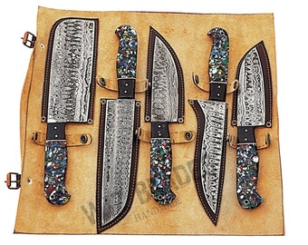 Unique Custom Resin Handle Handmade Damascus Steel Kitchen Chef Knife Set with Hand Carry Leather File Cover Roll Bag 5-Pieces