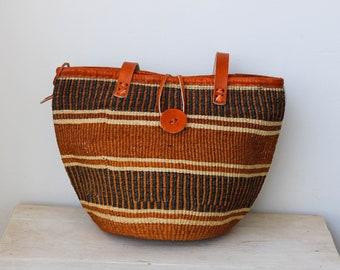Hand woven basket African Basket Kenyan sisal basket Basket with handle Brown Sisal Basket ZABIBU Sisal Basket Basket Bag