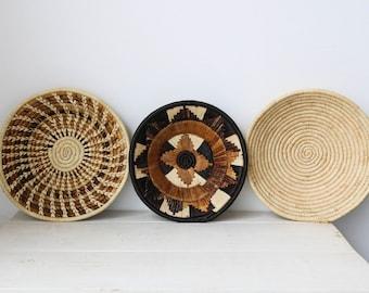 African wall baskets, Woven bowls, Rwanda baskets, Wall decor, African baskets, Fruit bowls, Tribal baskets, Set of 3, Size 10