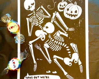 Queer to the bone saucy skeleton A5 art print