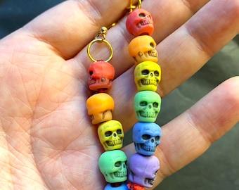 Rainbow Skull Pride Flag Earrings