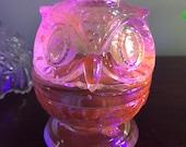 Aqua Glass Owl Fairy Lamp - Red under Blacklight