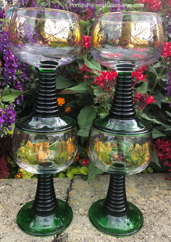 Vintage Bockling Roemer Green Wine/Water Glasses
