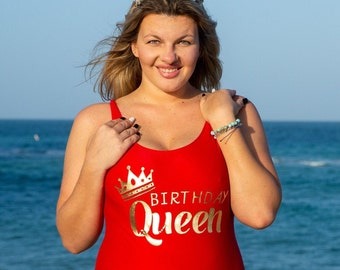 ZBBRDD Birthday Queen Womens Funny One Piece Swimsuit Swimwear Swimming Costume