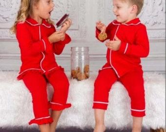 Christmas SALE! 50% OFF! Kids Red Button Up Christmas Pajamas, Holiday Matching Pajamas, Family Pajamas, Christmas Gifts, Xmas Kids Pajamas