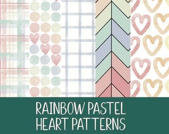 Pastel Rainbow Paper Patterns- Digital PNG Files