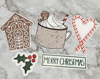 Gingerbread Themed Christmas Sticker Design Bundle PNG for Print and Cut