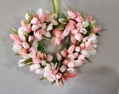 Pink, Peach Tulip Wreath, Valentine's Day Wreath, Spring Wreath, Spring Decor, Front Door Wreath, Mother's Day, Summer Wreath