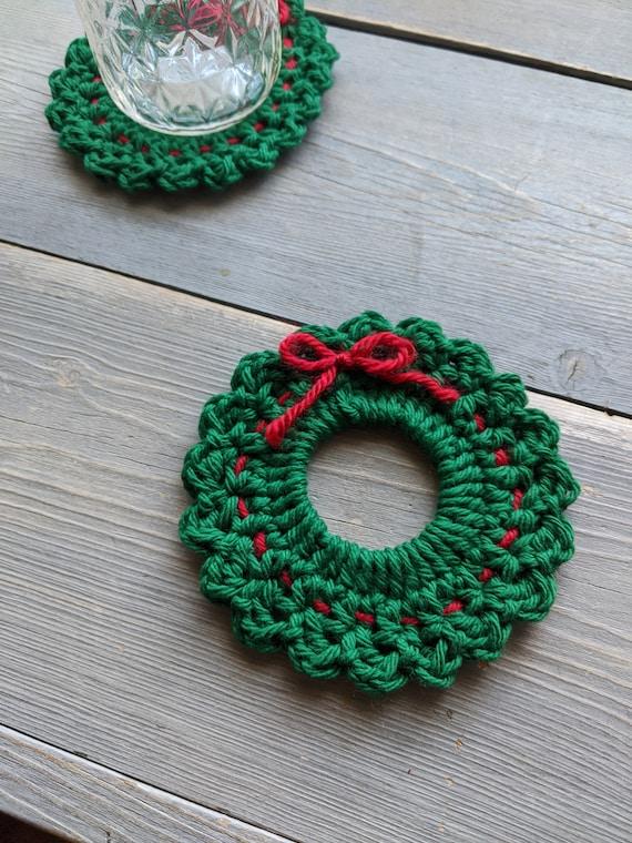 Christmas Wreath Crochet Coaster Pattern