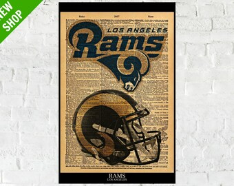 Los Angeles Rams HOME KIT Custom Jersey T-Shirt Add a name 100/%Canvas Framed