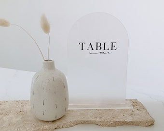Frosted Acrylic Arch Table Numbers - Acrylic Arch - Perspex - Plastic- Modern - White - Black - Frosted - Pink - Clear- Rectangular- A5