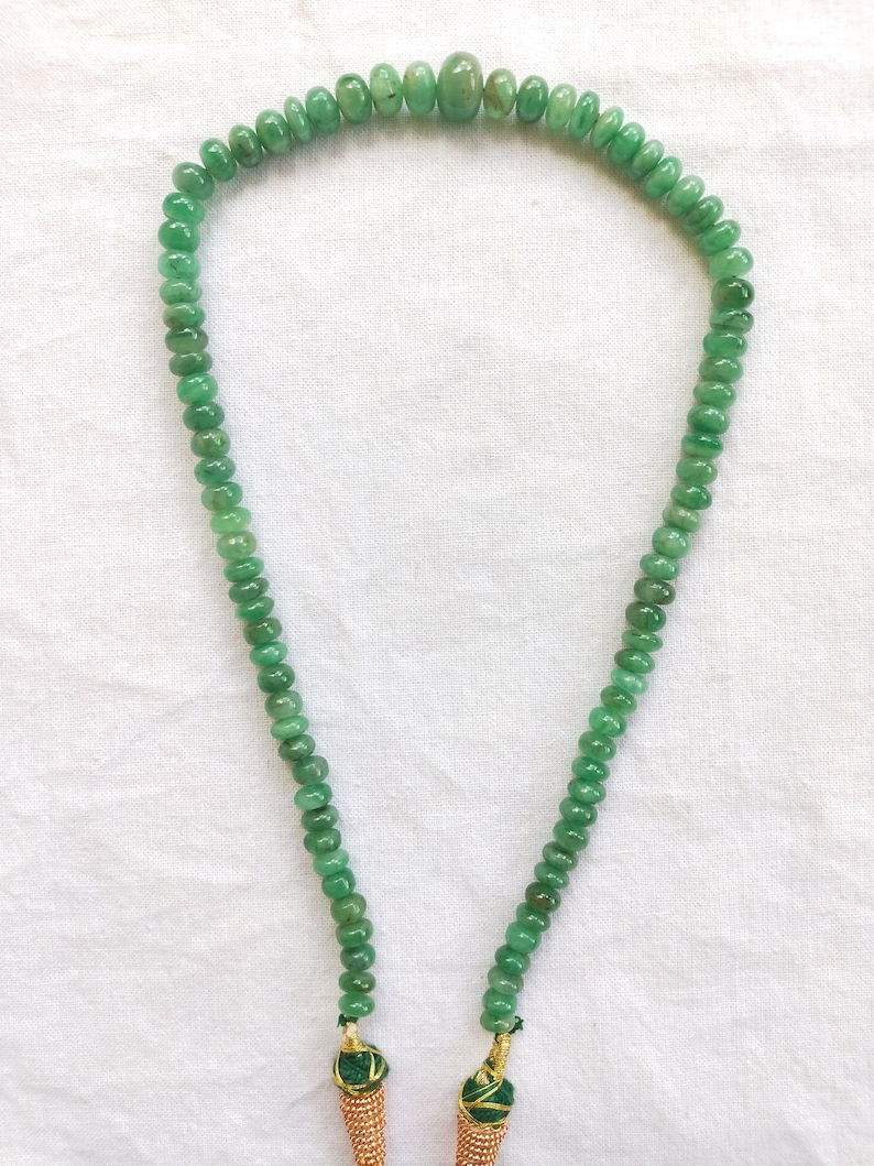 14 Inches with Adjustable Tassel May Birthstone Precious Emerald Smooth Rondelle Beaded Necklace for Her : 5.5 to 10 mm Beads Handmade.