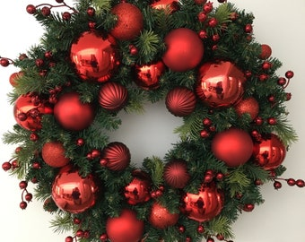 Red Bauble and Berry Wreath
