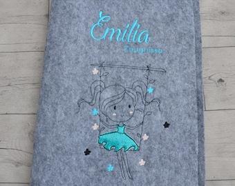 Testimony folder with name and dedication girl on swing
