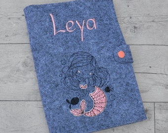 U-booklet sleeve with name and glitter mermaid