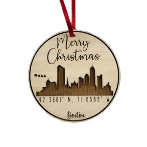 Hand Painted Christmas Ornament Boston Skyline Etsy