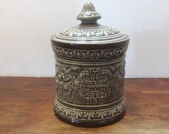 german salt glazed covered jar tobacco large cobalt blue jar