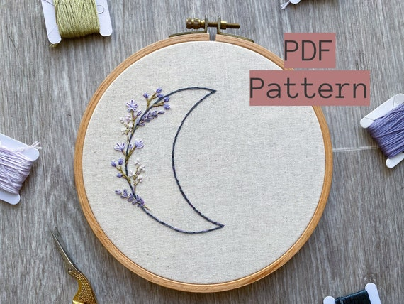 Lavender moon hand embroidered black pin