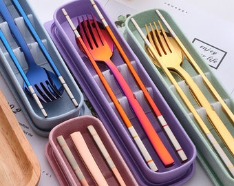 Stainless Steel Cutlery Set - Spoon Fork & Chopsticks with Wheat Box - Travel Set