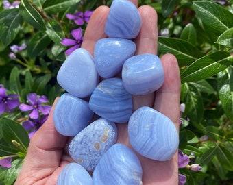 BLUE LACE AGATE Tumbles Natural Banded Tumble Stone crystal quartz Tumbled Stones home decor