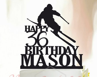 Personalised Acrylic Water Skiing Birthday Keepsake Cake Topper Decoration