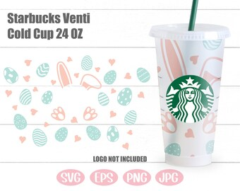 For Cricut,Silhouette Happy easter png dxf Seamless SVG Files Wrap \u27e1 Starbucks Venti cold 24oz Cup Wrap file Download,bunny,eggs mandala