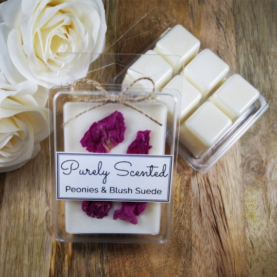 Peonies & Blush Suede Highly Scented Hand PouredSoyWax Melt - Clamshell