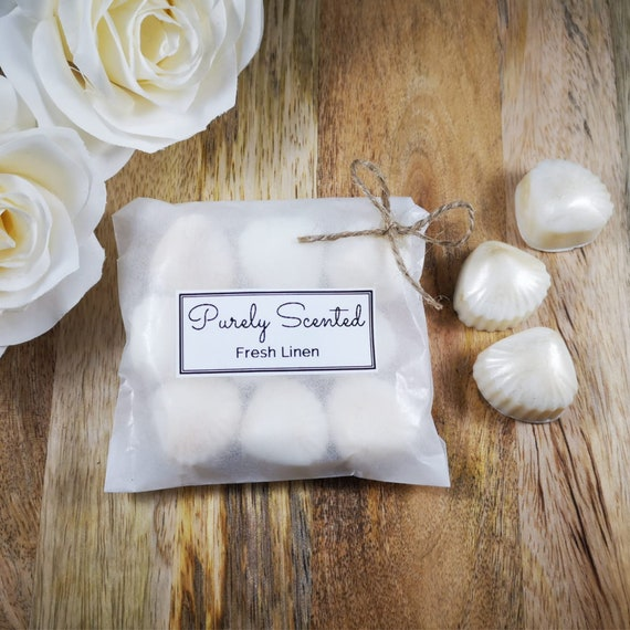 Fresh Linen Highly Scented Hand Poured Soy Wax Melt - Pearlescent Shells