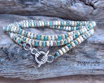 Stacking Bracelets For Women, Blue Bracelet, Triple Wrap Bracelet, Stacking Beaded Bracelet, Picasso Bracelet, Multi-color Miniduo Bracelet