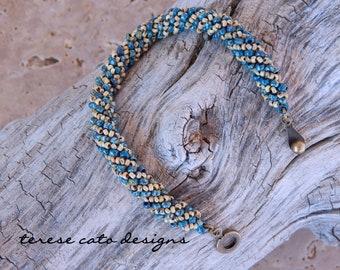 Beaded Bangle Bracelet, Blue Bracelet, Russian Spiral Bracelet, Rope Bracelet, Picasso Bracelet, Czech Bracelet, Bohemian Beaded Bracelet