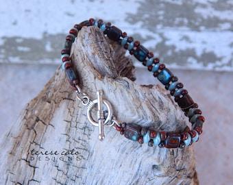 Czech Bracelet, Picasso Bracelet, Woman's Jewelry, Red Bracelet, Bracelets For Women Beaded, Boho Bracelets For Women, Artisan Bracelets